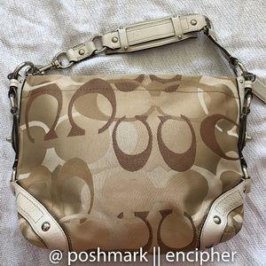 COACH tan brown cream nickel leather signature bag
